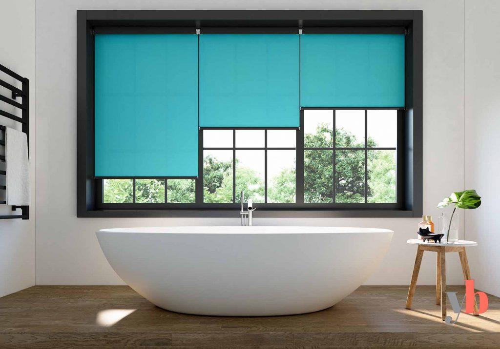 Blue Roller Blinds in bathroom