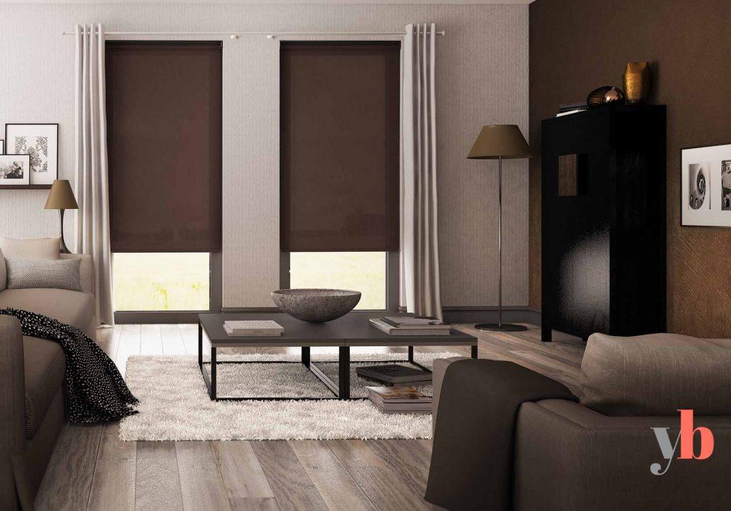 Brown Roller Blinds Living room