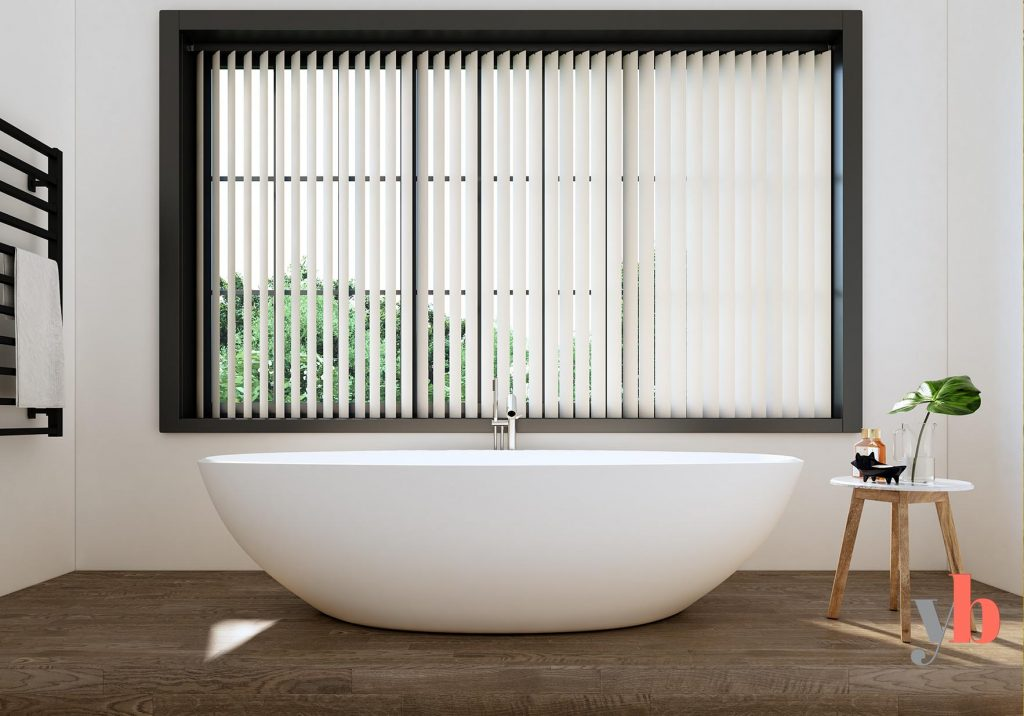 White Vertical blinds bathroom
