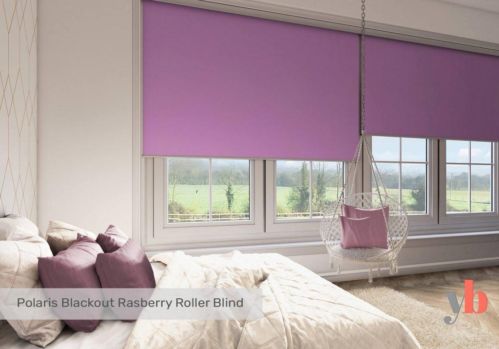 Purple blinds in bedroom