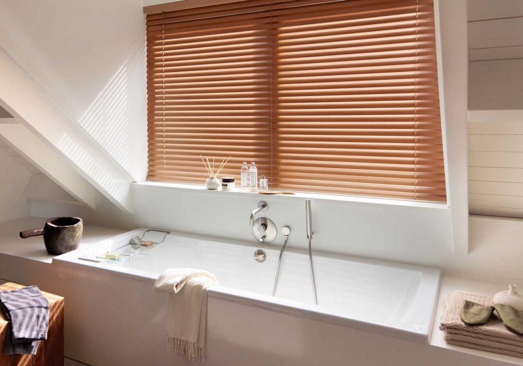 Faux Wood Venetian Blind in bathroom