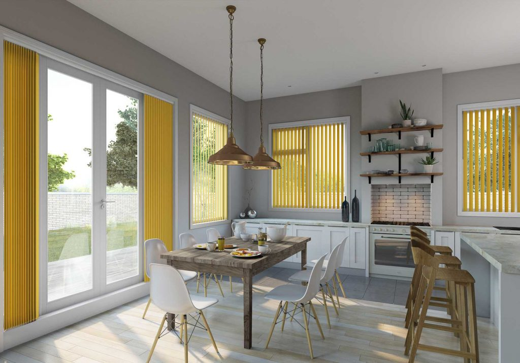 Yellow Vertical Blinds in the kitchen